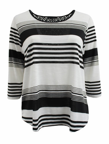 Black and White Thin/Thick Striped Tee