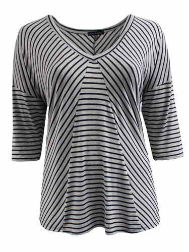Half Sleeve Striped V-Neck Tee