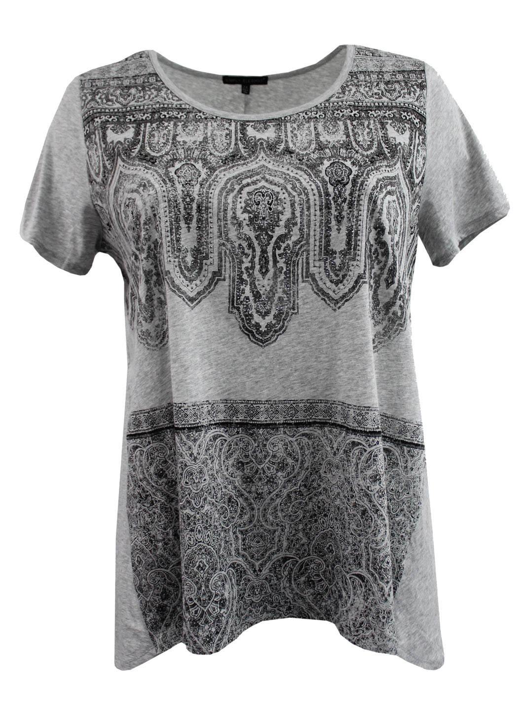 Black Lace Design Tee w/ Rhinestone Embellishment