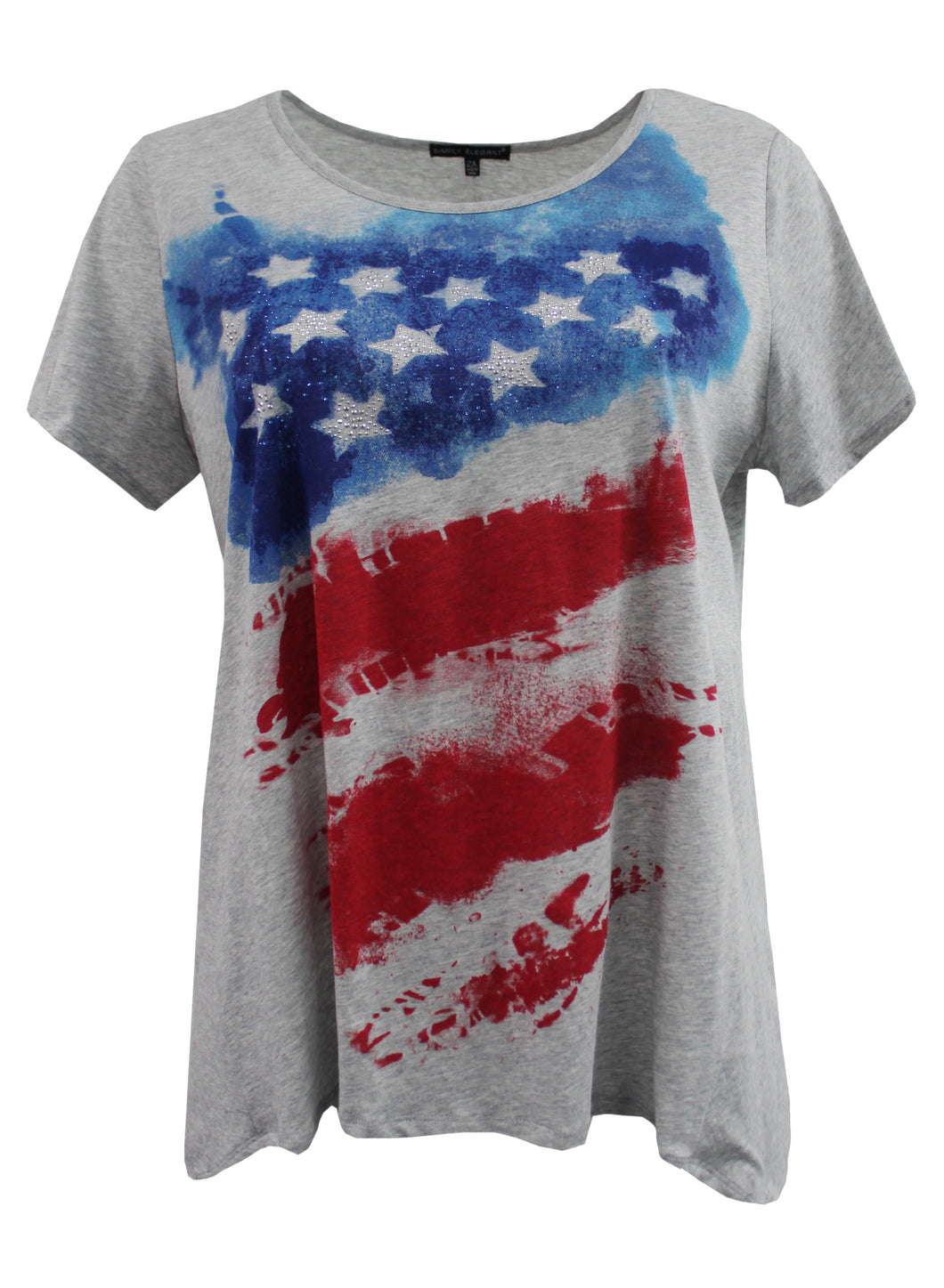 Abstract Tie-Dye American Flag Tee w/ Rhinestone Stars