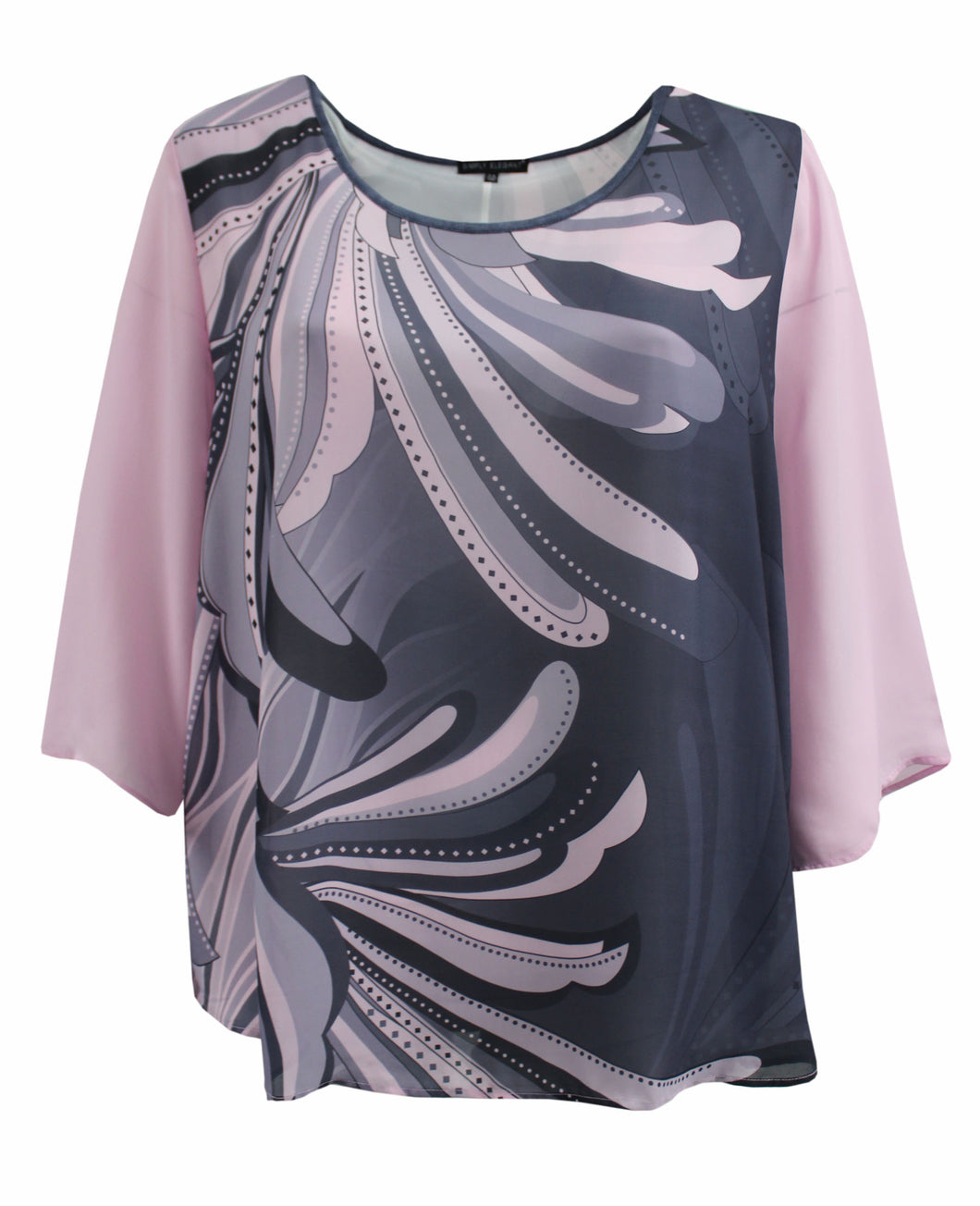 Pink Abstract Floral Chiffon Top