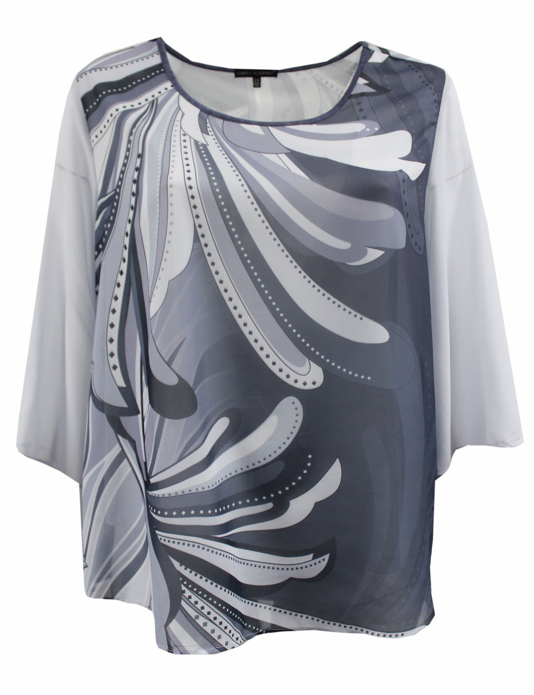 Grey Abstract Floral Chiffon Top