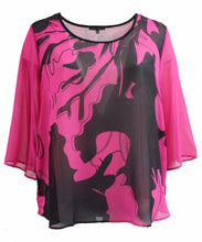 Solid Color Chiffon Blouse with Black Design