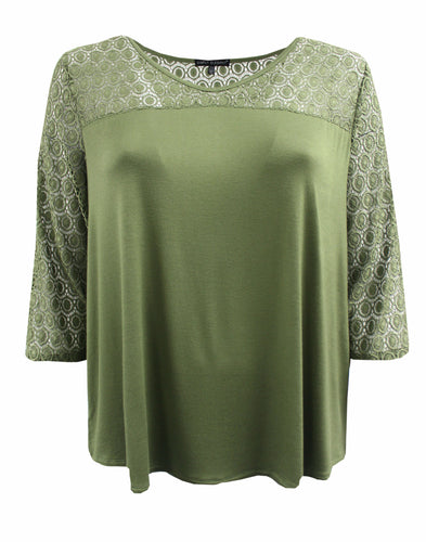 Solid Color Quarter Sleeve Tee with Lace Sleeves