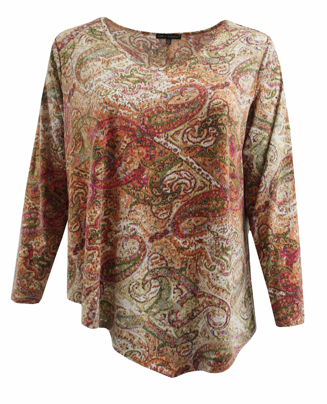 Multi Color Paisley, Knit Sweater Top