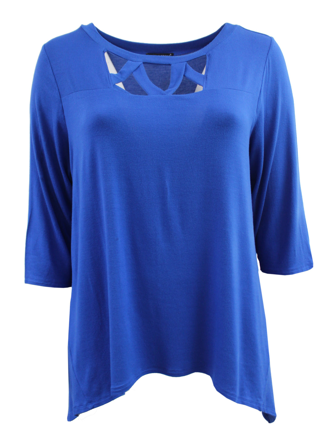Crossed Chest Opening Round Neck Tee