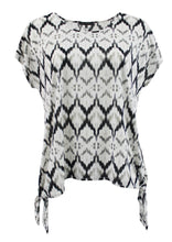 Black and White Tribal Print Fashion Tee w/ Tied Bottom Hem