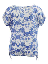 Blue and White Floral Fashion Tee w/ Tied Bottom Hem