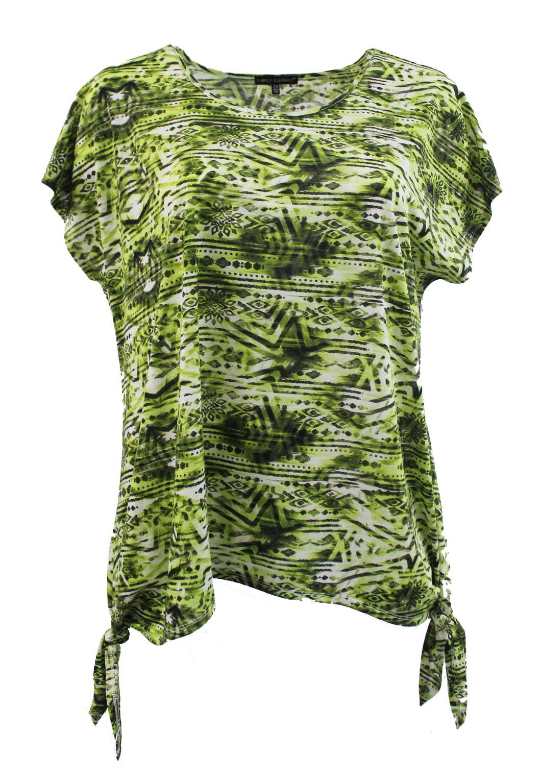 Green Aztec Tribal Print Fashion Tee w/ Tied Bottom Hem