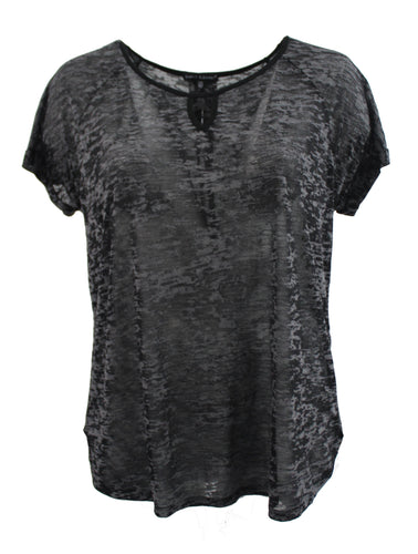 Black Solid Color Burnout Tee w/ Keyhole Front
