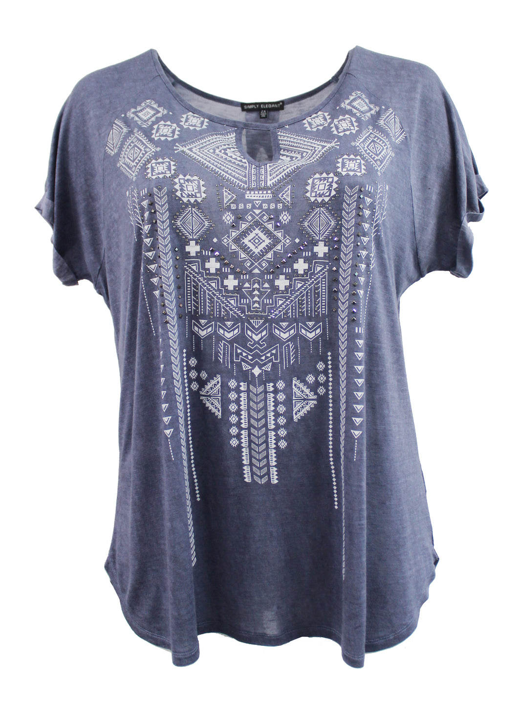 Burnout Tee with Tribal Aztec Print and Rhinestones