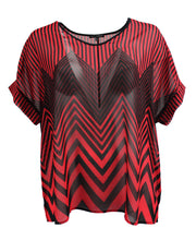 Red and Black, Zig-Zag Striped Chiffon Tee