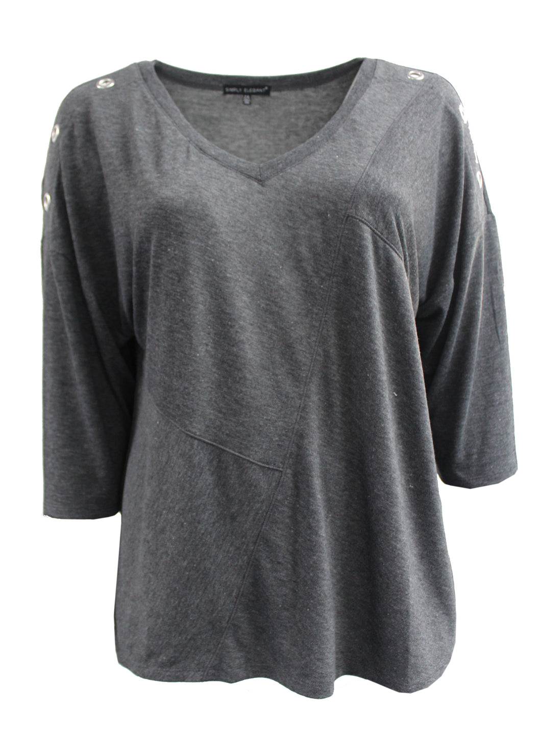 Grey Quarter Sleeve Tee with Holed Sleeves