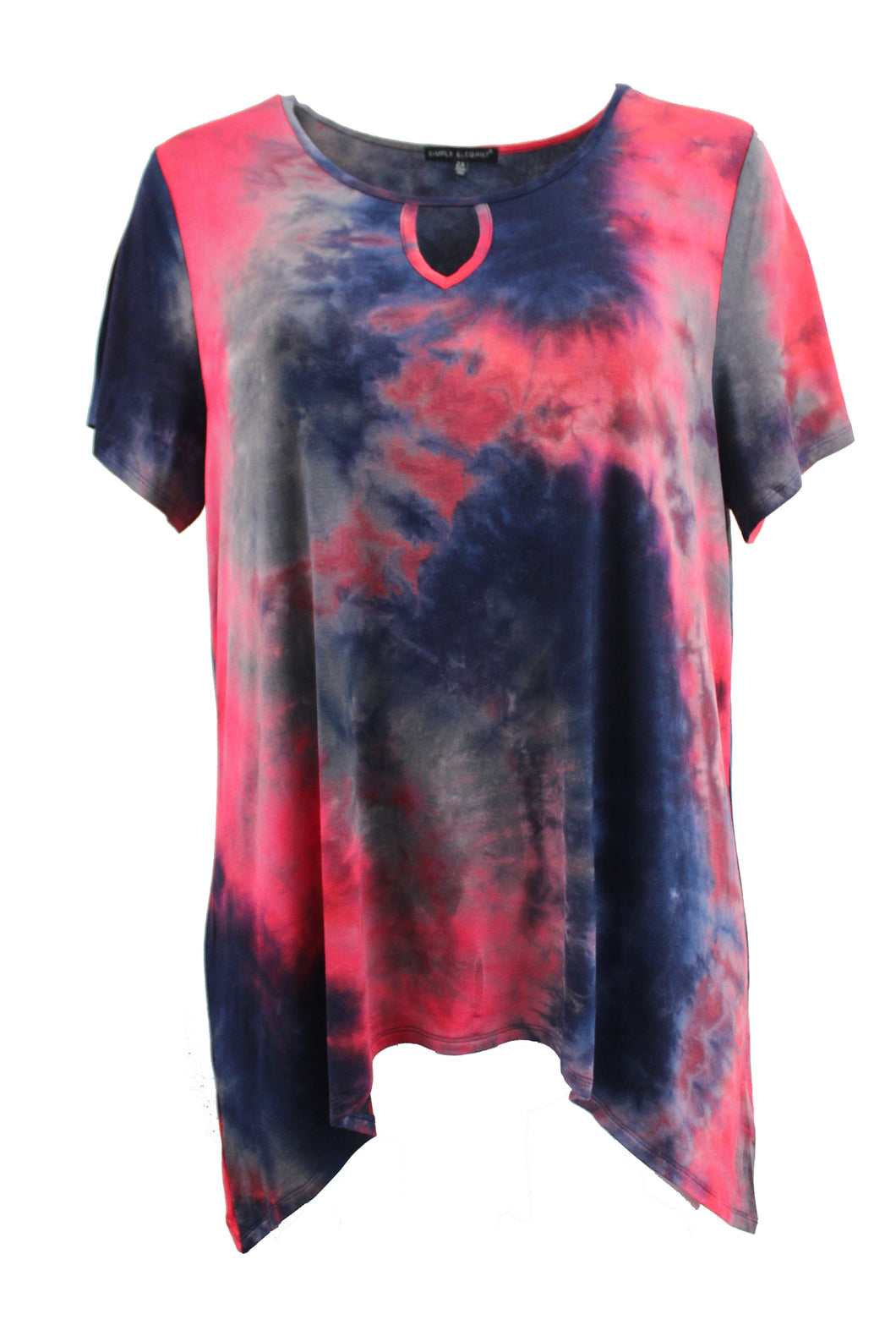 Navy/Red Tie-Dye Fashion Tee w/ Keyhole Front