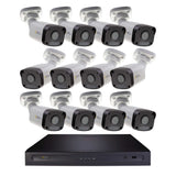 Halifax 16 Channel 4K UHD IP NVR Security System with (12) Cavalier 5MP IP Bullet Cameras, 2 TB Hard Drive