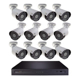 Halifax 16 Channel 4K UHD IP NVR Security System with (12) Archer 4K 8MP IP Bullet Cameras, 4 TB Hard Drive