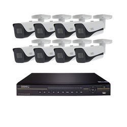 16 Channel 4K NVR System with (8/10/12/16) 4K IP Bullet Cameras and 2/3 TB HDD
