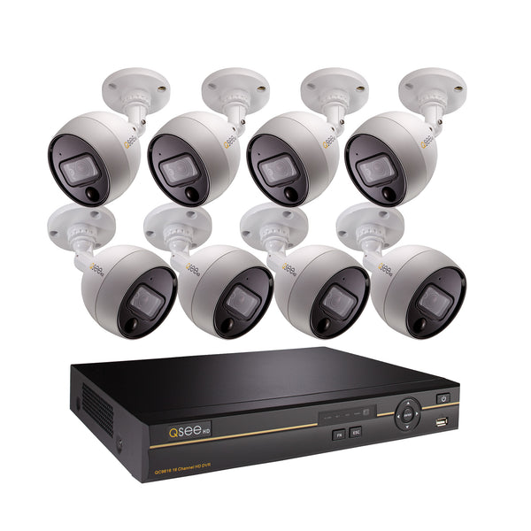 16 Channel 4K Multi-format DVR System with 8 4MP PIR Bullet Cameras and 2TB HDD