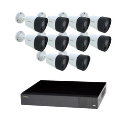 16 Channel 5MP Multi format DVR System with 10 5MP PIR Bullet Cameras and 2TB HDD