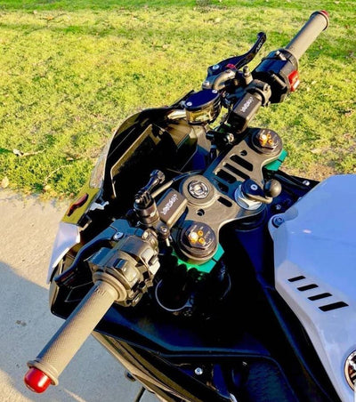 Impaktech adjustable clipon risers clip-on risers clip-ons clipons stunt handlebars Yamaha R1 0 degree 7 degree
