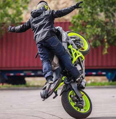 Impaktech crash cage zx6r 636 neon yellow fluorescent yellow tony carbajal circle wheelie combo circle shorty muffler exhaust icon HT moto