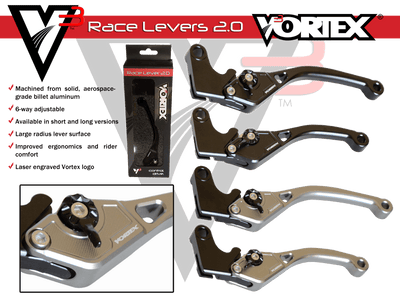 Vortex V3 brake levers for sportbikes short and full length