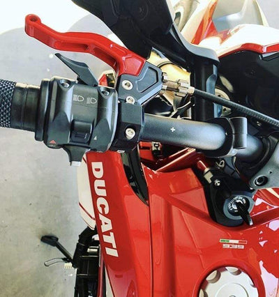 ez pull clutch lever on ducati 939sp by Impaktech USA red black lever
