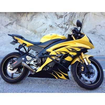 Yamaha R6 Crash Cage Xtreem Bike Works Stunt Cage R6S R6R Yellow Flame R6
