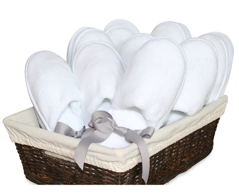 White slippers with non-slip surface in basket