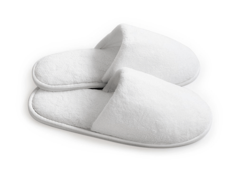 White slippers with non-slip surface