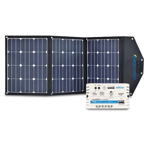 ACOPOWER 105W Foldable Solar Suitcase with 10A Charge Controller