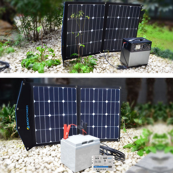 ACOPOWER 70W Portable Solar Suitcase with 5A Charge Controller