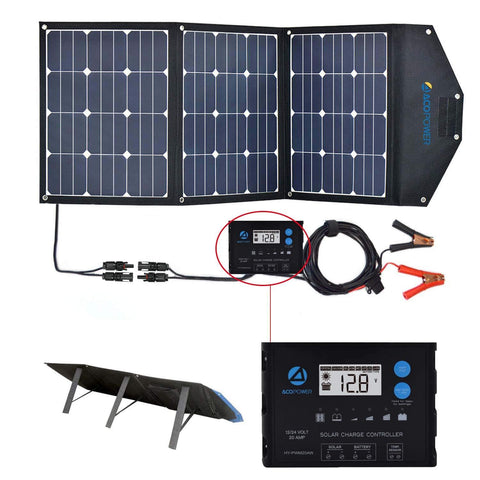 ACOPOEWR 120W Foldable Solar Suitecase with ProteusX 20A Waterproof Charge Controller