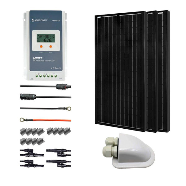 300 Watts All Black Monocrystalline Solar RV Kits