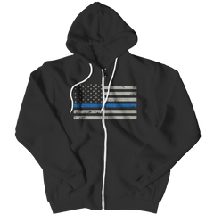 Zipper Hoodie - Limited Edition - Blue Line Flag