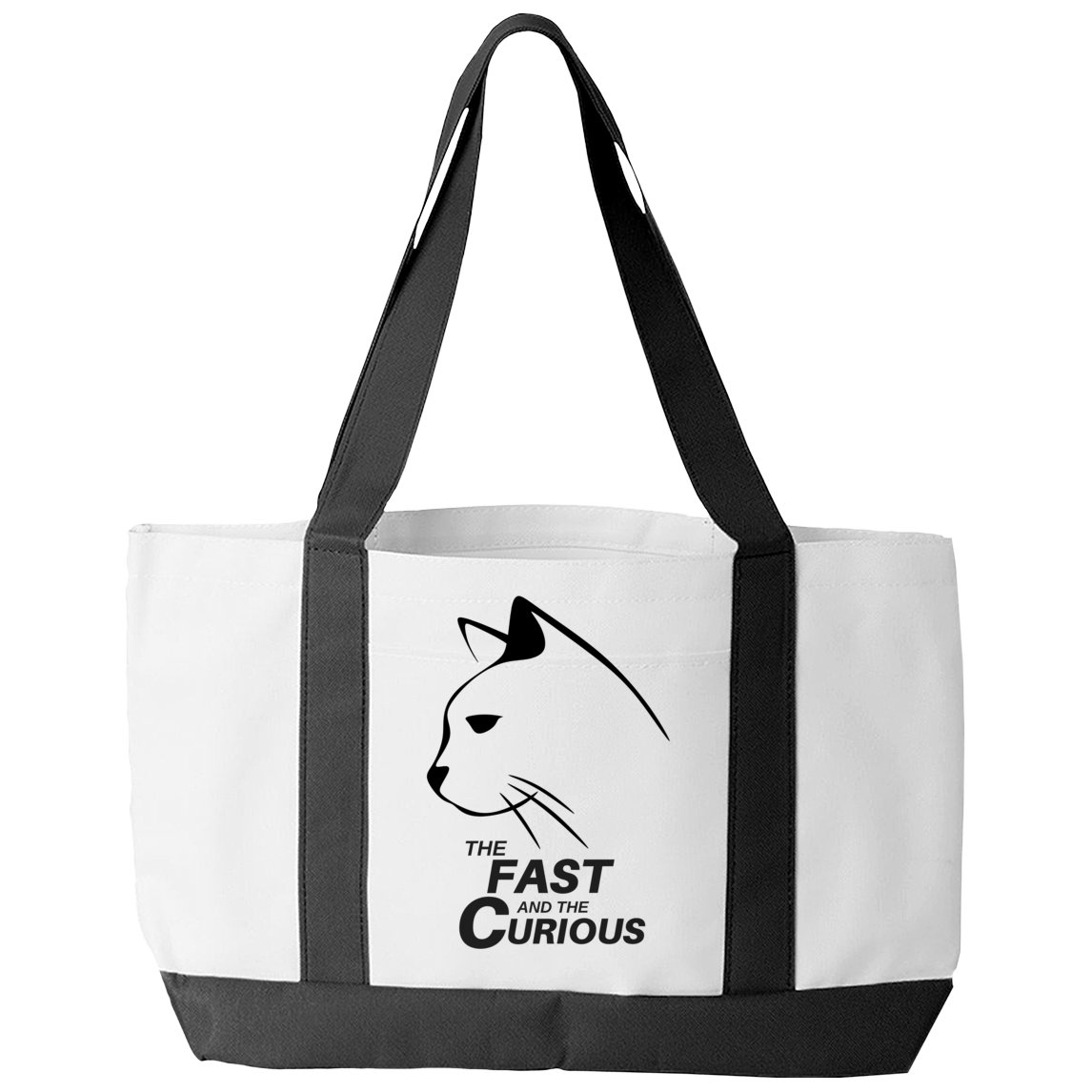 Tote Bag - Limited Edition - Black Print Fast & Curious Kitty Tote Bag - Exclusive by AutoClubHero LLC