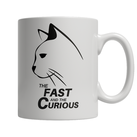 Coffee Mug - Limited Edition - White Fast & Curious Cat Mug Exclusive by AutoClubHero
