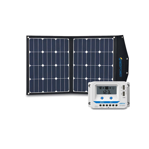 ACOPOWER 80W Foldable Solar Suitcase with 10A LCD Charge Controller