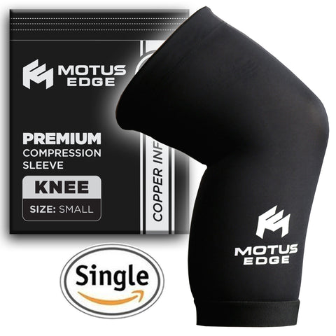 Motus Edge Copper Infused Knee Compression Sleeve for Running, CrossFit & Pain Relief