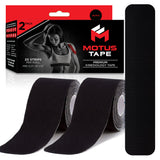Motus Tape Elastic Cotton Kinesiology Tape - Black (2-pack)