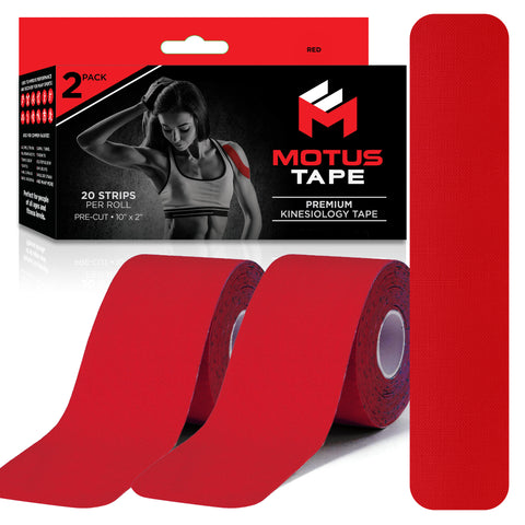 Motus Tape Elastic Cotton Kinesiology Tape -  Red (2-pack)