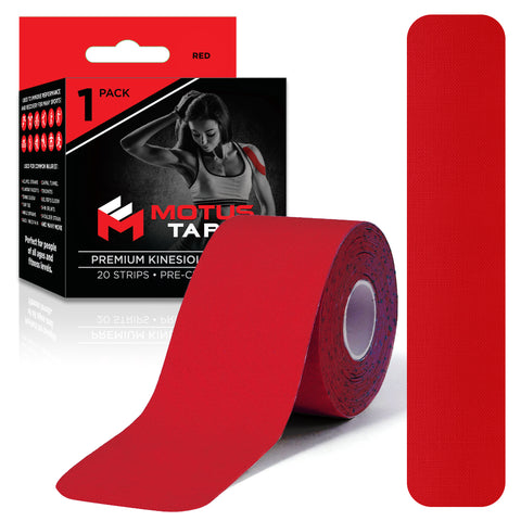 Motus Tape Elastic Cotton Kinesiology Tape - Red