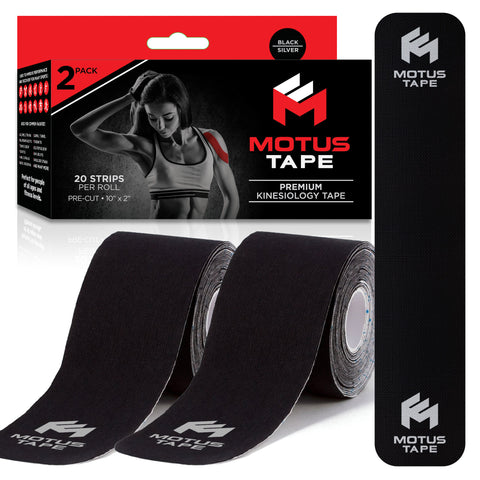 Motus Tape Elastic Cotton Kinesiology Tape - Black/Silver Reflective (2-pack)