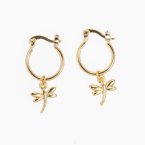 Mini Gold Hoop Earrings with a Dragonfly Charm