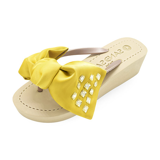 Gold sandal, yellow ribbon With crystal stone
