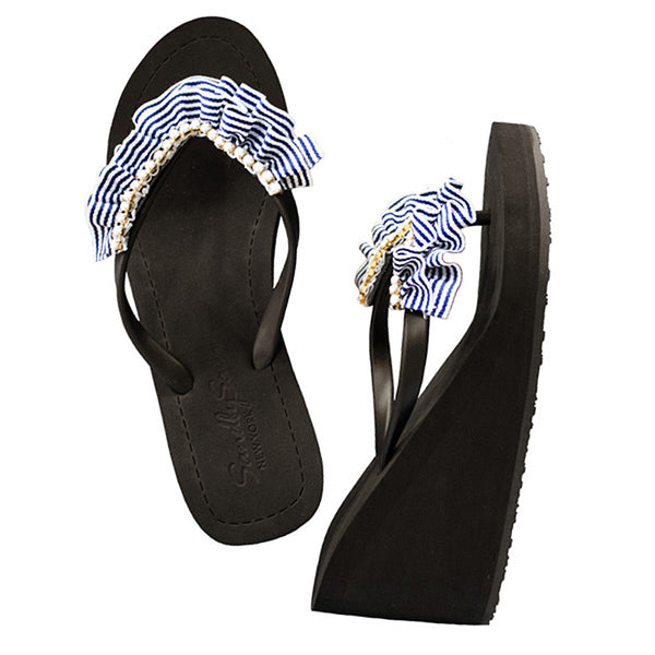 Black Women's High wedge Sandals with Rockaway, Flip Flops summer