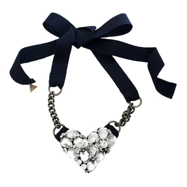 Chelsea Heart (Crystal) - Ribbon Necklace