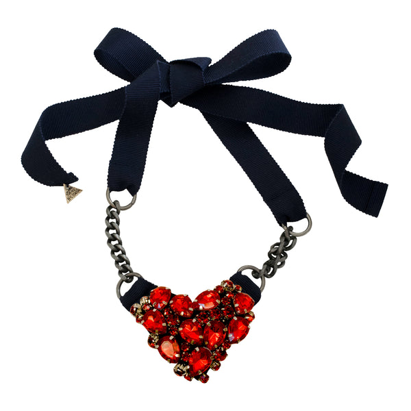 Red Chelsea Heart - Ribbon Necklace