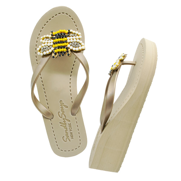 Bee - Women's Mid Wedge, Yellow, Black, Bee