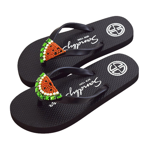 Watermelon - Women's Mid Wedge, Beaded, Watermelon